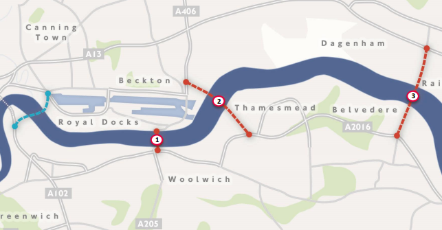 Thames River Crossing possible sites