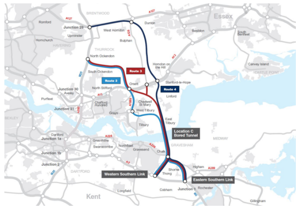 • Option C- Connecting the M2 with the A13 and the M25 between junctions 29 and 30 through a bored tunnel.